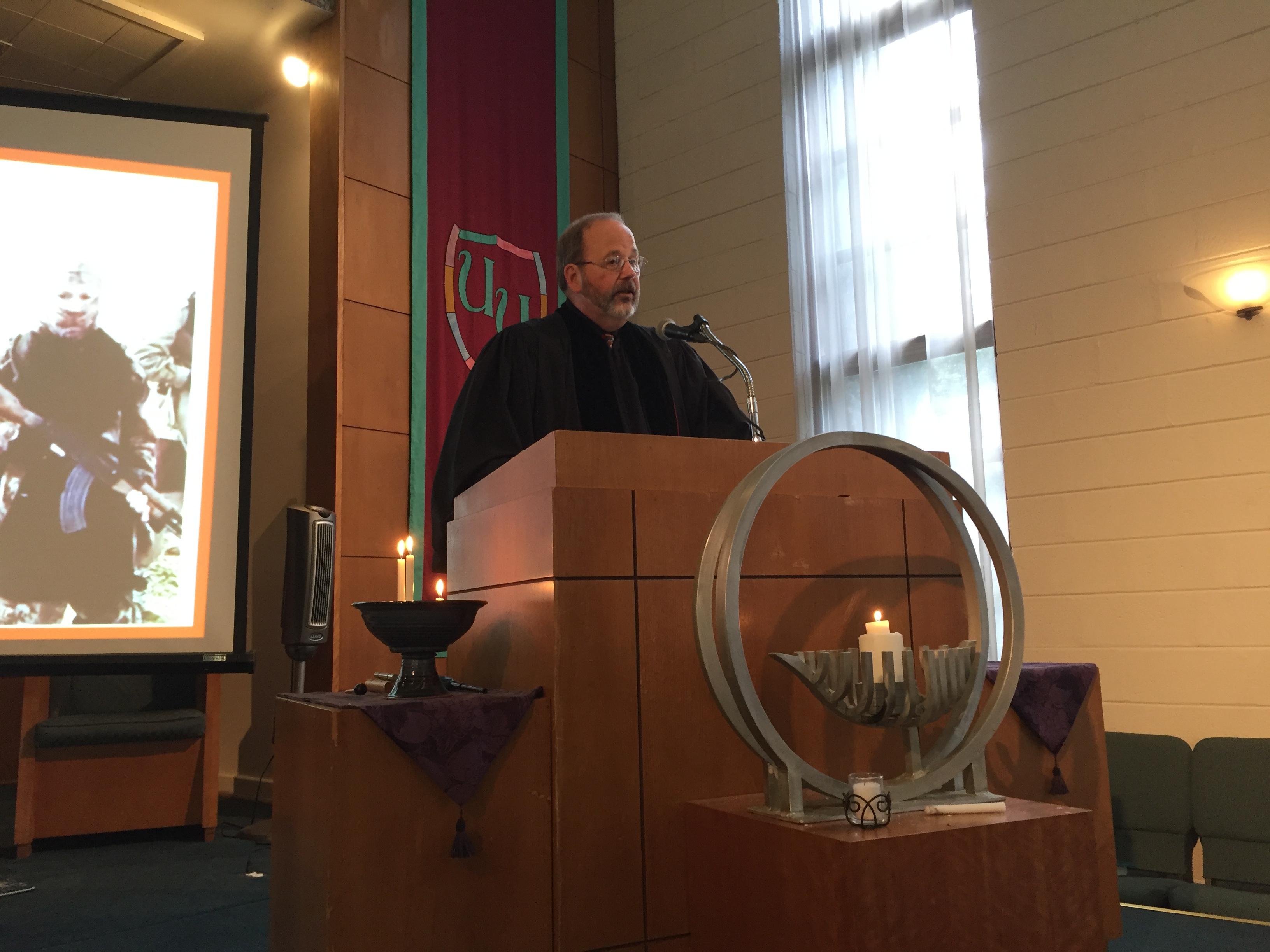 Reverend Jeff Liebmann in the pulpit