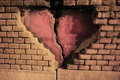 Broken Heart in Wall