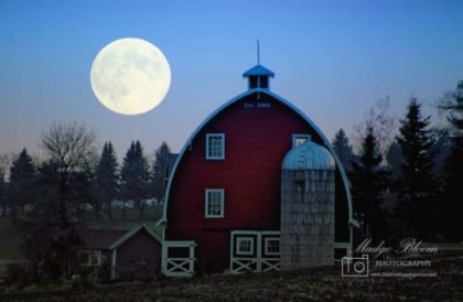 Barn and large moon