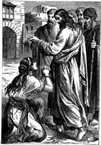 Woman asking Jesus for help