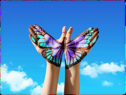 Butterfly image on hands