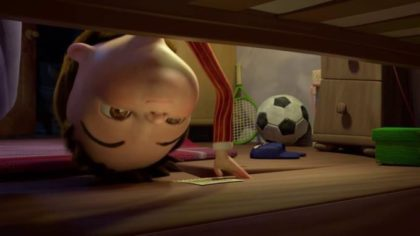 Child looking under bed