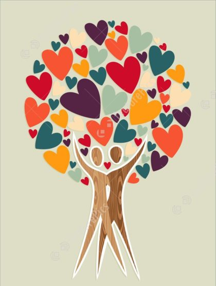 People and hearts in shape of tree