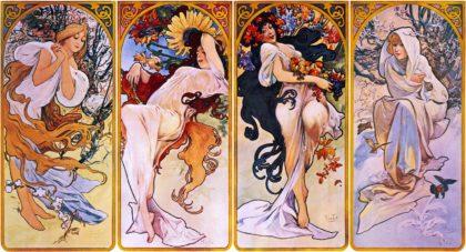 Four Art Nouveau Posters of Women