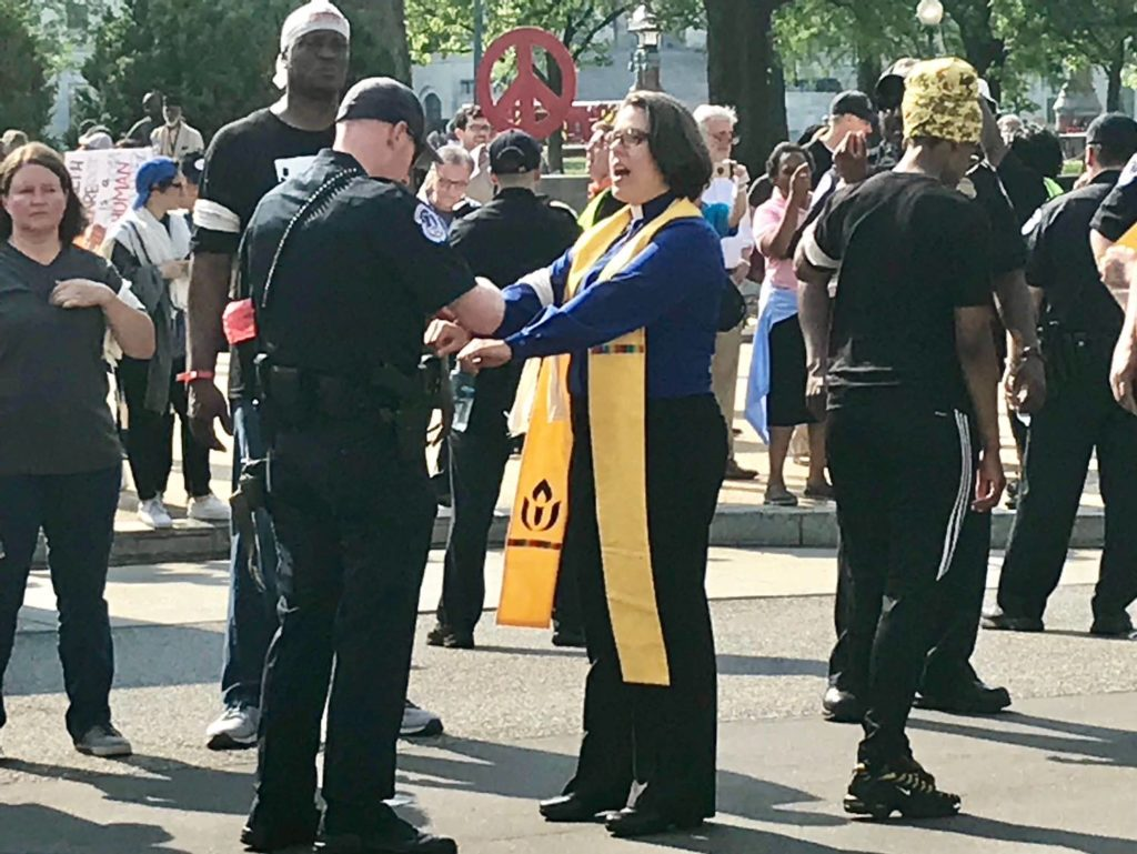 Rev. Susan Frederick-Gray and other UU clergy & lay leaders arrested
