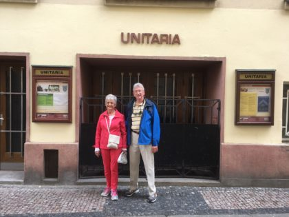 Linda and Richard at UU church in Prague