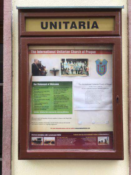 Plaque in front of UU Church in Prague, Czech Republic