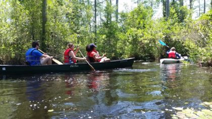 Youth Group boating on the river